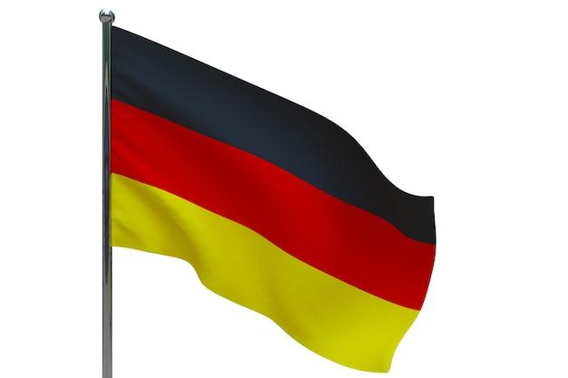 Bandiera della germania in pole. pennone in metallo. bandiera nazionale della germania 3d'illustrazione su bianco
