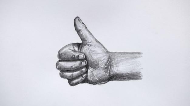 La mano di gesto che mostra i pollici aumenta il segno. disegno a mano, line art su carta bianca.