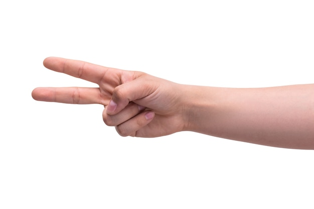 Gesti la mano di una persona mostra due dita