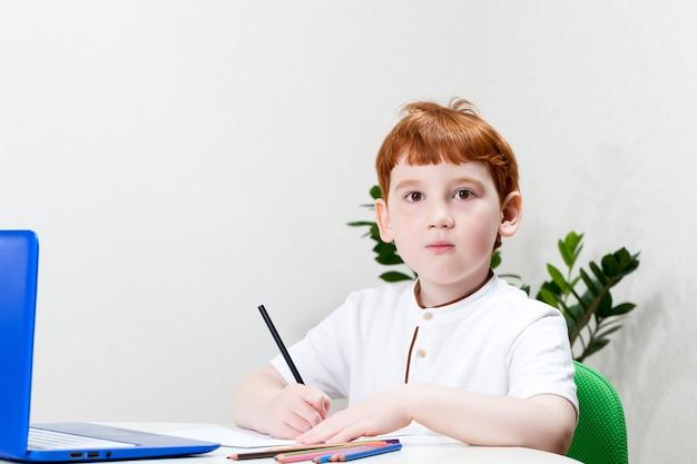 Ottenere un'istruzione utilizzando la tecnologia di apprendimento basata su computer, un ragazzo che studia su internet durante un'epidemia