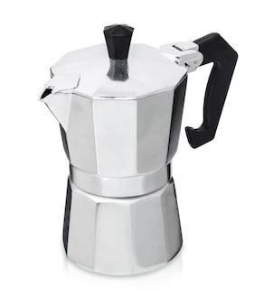 Caffettiera geyser caffettiera in metallo isolata