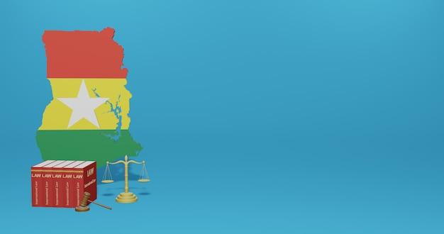 Legge del ghana per le infografiche, i contenuti dei social media nel rendering 3d