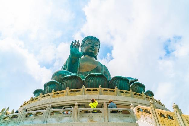 Statua gigante del buddha al rumore metallico di ngong, hong kong