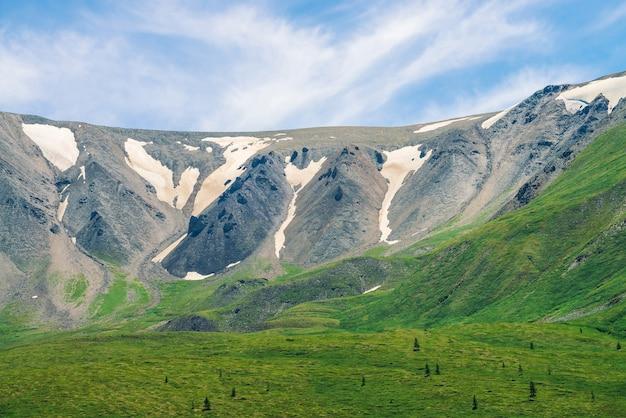 Gigante grigio montagna rocciosa con neve sporca sopra la valle verde con alberi di conifere in una giornata di sole sotto il cielo blu. incredibile paesaggio dell'altopiano di natura maestosa.