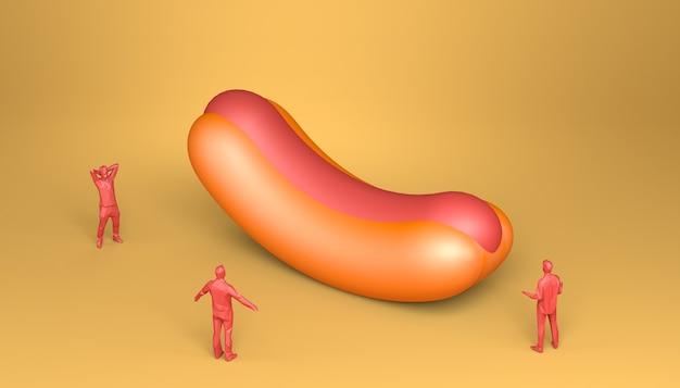 Hot dog gigante circondato da persone stupite. cibo spazzatura. illustrazione 3d.