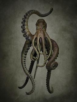 Un polpo gigante dell'oceano. illustrazioni 3d