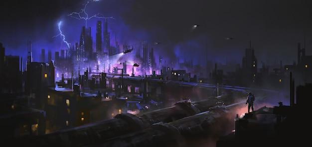 Gasdotto gigante che si estende alla città, illustrazione 3d