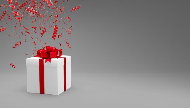 Confezione regalo e coriandoli che cadono su sfondo grigio con copia spazio 3d rendering