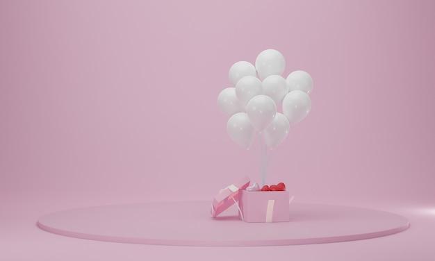 Confezione regalo con palloncino e podio circolare. scena della piattaforma celebrazione astratta. rendering 3d
