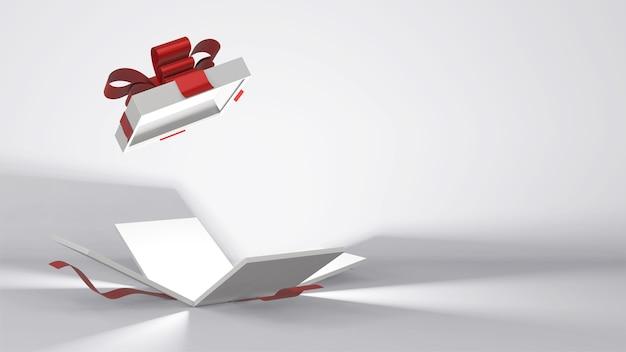 Confezione regalo con nastro colorato rendering 3d