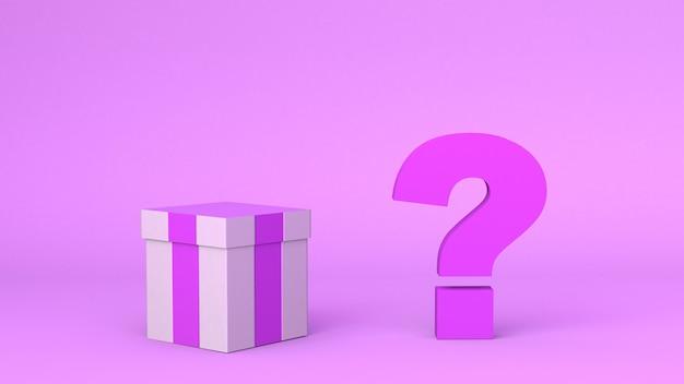 Confezione regalo con punto interrogativo accanto su sfondo rosa. scatola sorpresa. illustrazione 3d.
