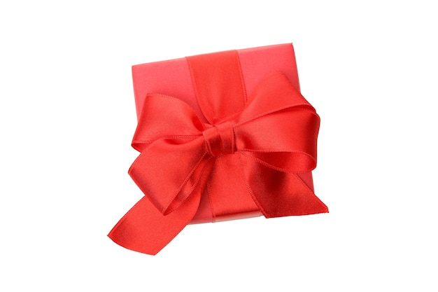 Confezione regalo con fiocco rosso isolato su sfondo bianco