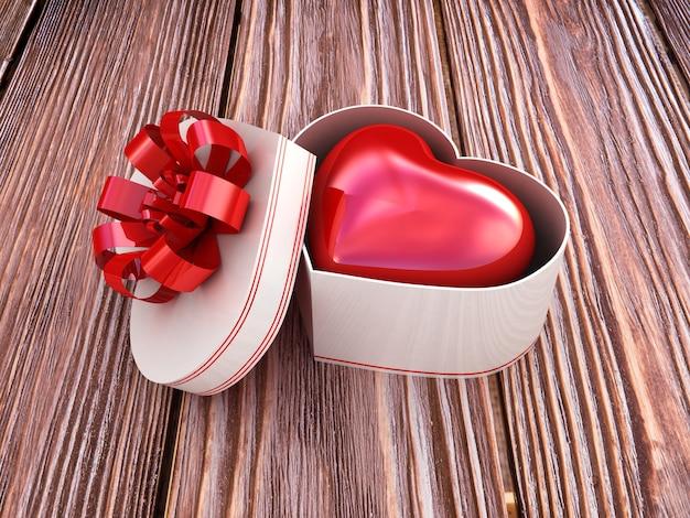 Confezione regalo con cuore rosso. illustrazione 3d