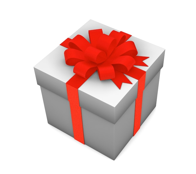 Confezione regalo con nastro rosso isolato su sfondo bianco. rendering 3d.