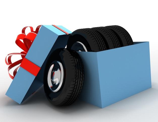 Confezione regalo con pneumatici e ruote. 3d reso illustrazione
