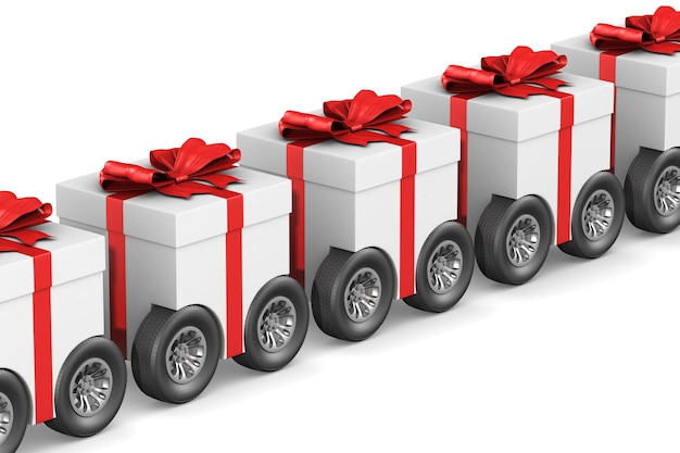 Confezione regalo con ruota su sfondo bianco. illustrazione 3d isolata