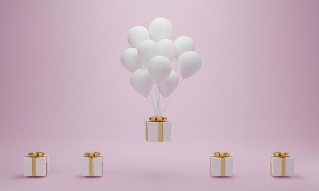 Confezione regalo con palloncino bianco galleggiante su sfondo rosa. concetto minimo. rendering 3d