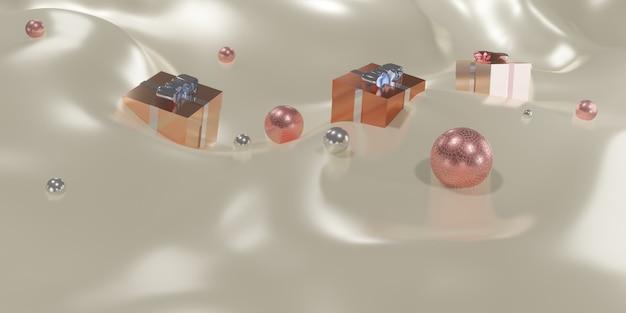 Scatole regalo e plexiglass su onde di tessuto illustrazione 3d di sfondo di natale e capodanno