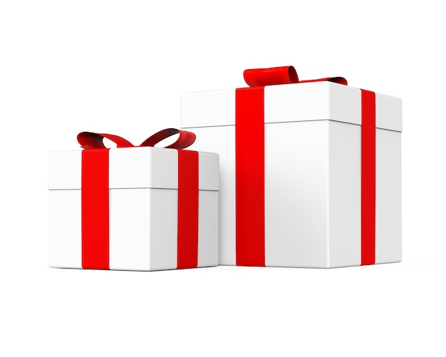 Confezioni regalo di colore bianco con nastro rosso e fiocco su sfondo bianco