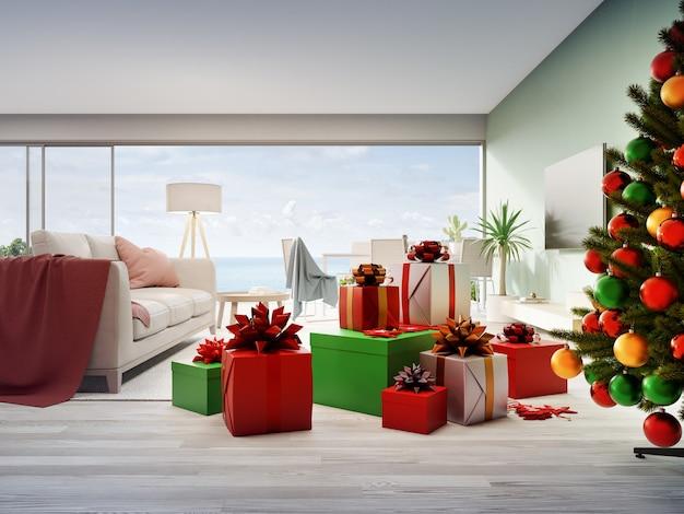 Confezioni regalo e divano sul pavimento di legno del luminoso soggiorno in una moderna casa sulla spiaggia o appartamento Foto Premium