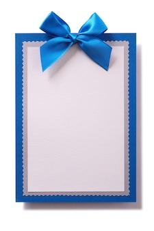 Carta regalo invito invito decorazione fiocco blu verticale