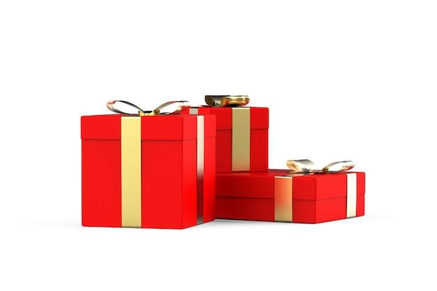 Confezione regalo rossa con nastro dorato set di tre diverse dimensioni confezioni natale capodanno saldi Foto Premium