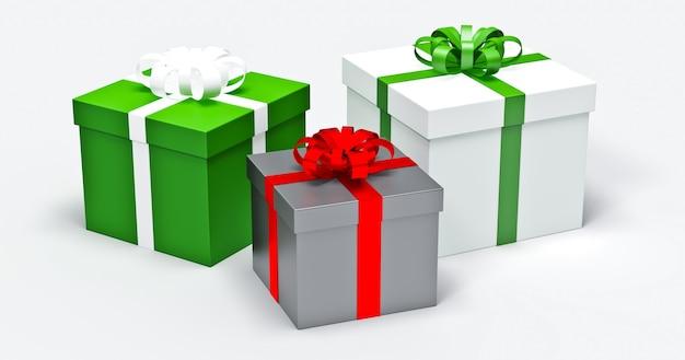 Scatole regalo con cuori su sfondo bianco