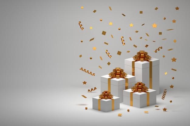 Regali presenti in scatole con fiocchi dorati e coriandoli a spirale dorata volanti