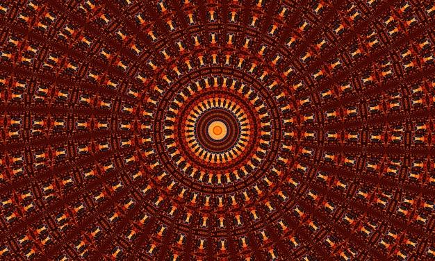 Modello senza cuciture astratto di caleidoscopio groovy dello zenzero con elementi luminosi caleidoscopici rotondi.