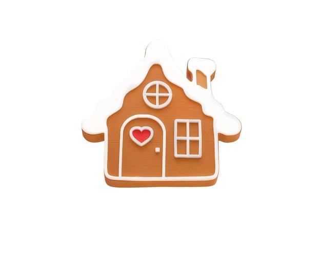 Casa di pan di zenzero isolata su sfondo bianco gustosi biscotti di natale fatti in casa panetteria natalizia