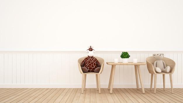 Bambola della giraffa e bambola dell'orso sulla sala da pranzo o sulla stanza del bambino - rappresentazione 3d