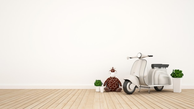 Bambola della giraffa e motociclo d'annata nella stanza del bambino - rappresentazione 3d