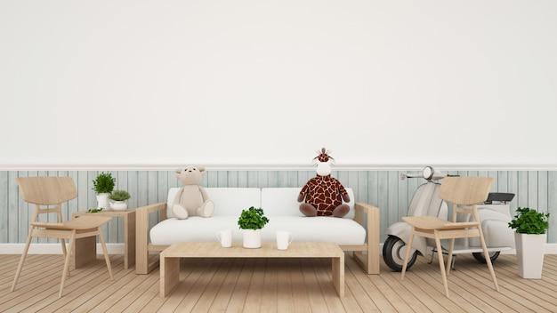 Bambola della giraffa con la bambola dell'orso e motociclo dell'annata in salone - rappresentazione 3d