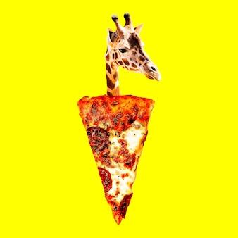 Umore pizza giraffa. collage di arte contemporanea. divertente progetto di fast food