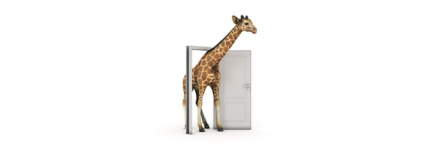 La giraffa cammina attraverso il rendering 3d della porta aperta