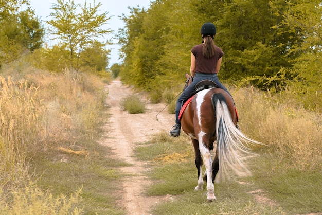Una ragazza con un casco nero, pantaloni scuri e una maglietta marrone con una frusta da dressage in mano cavalca un pinto su una strada forestale. foto verticale dal retro