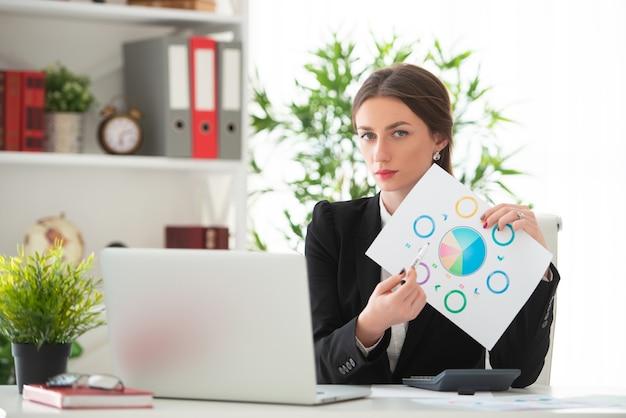 La ragazza in giacca e cravatta mostra un grafico. giovane donna che lavora alla scrivania con un laptop in un ufficio