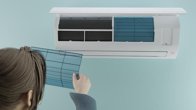 La ragazza controlla la pulizia del filtro nel rendering 3d del condizionatore d'aria