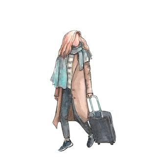 Ragazza in cappotto con un trolley viaggia