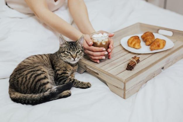 Ragazza che fa colazione con cappuccino e croissant nel suo letto e un gatto soriano