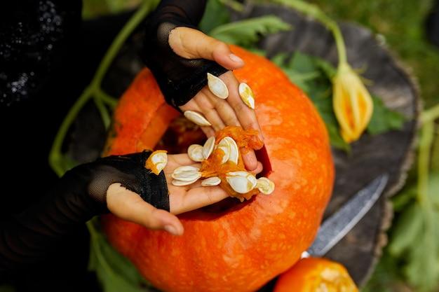 Ragazza, mani di bambino che estrae semi e materiale fibroso da una zucca prima di scolpire per halloween, prepara jack o'lantern. piccolo aiutante di famiglia, primo piano, vista dall'alto, copia spazio