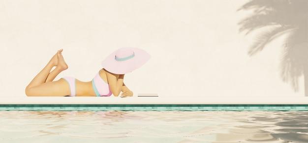 Ragazza sdraiata sul marciapiede con bikini rosa e pamela che legge un libro
