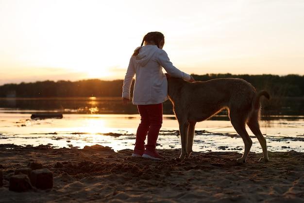 Una ragazza gioca con un cane su una spiaggia di sabbia in riva al fiume al tramonto.