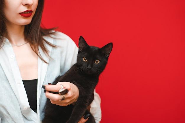 Ragazza su uno sfondo rosso, il gatto sembra