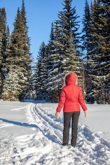 Una ragazza con una giacca rossa cammina attraverso una foresta innevata in una giornata invernale. retrovisore. un uomo sullo sfondo di una bellissima natura invernale