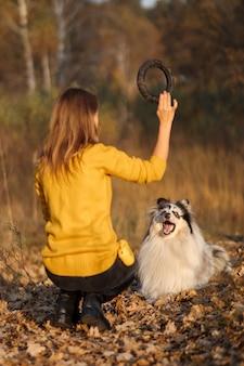 La ragazza lancia l'estrattore nero a rough collie nel parco autunnale giallo