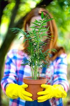 La ragazza trapianta i fiori nel giardino. vasi da fiori e piante da trapianto