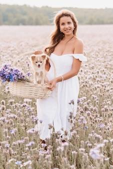 Ragazza con un cane chihuahua in un cesto con un mazzo di fiori in natura nel campo estivo