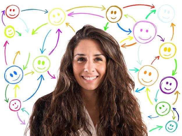 Ragazza con la faccia sorridente con le faccine di sfondo collegate tra loro. concetto di chat sul social network