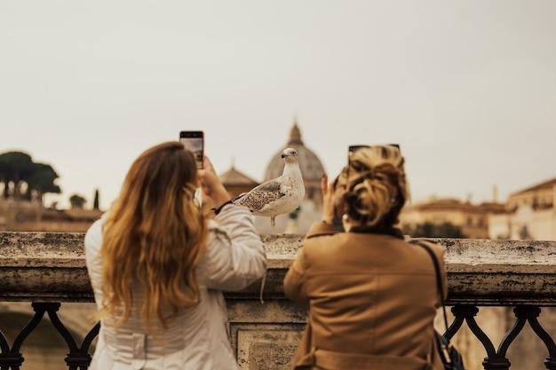 Ragazze in vacanza alla ricerca e scattare foto al gabbiano a roma, italia.